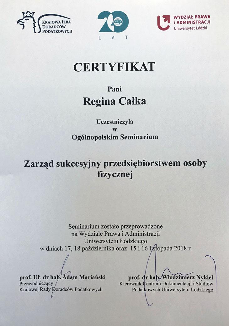 certyfikat uczestnictwa w szkoleniu z zarządu sukcesyjnego firmy